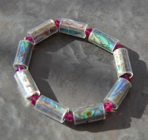 Paua and Swarovski Crystal Stretch Bracelet (Hexagonal, FU) WAS £20 PB02